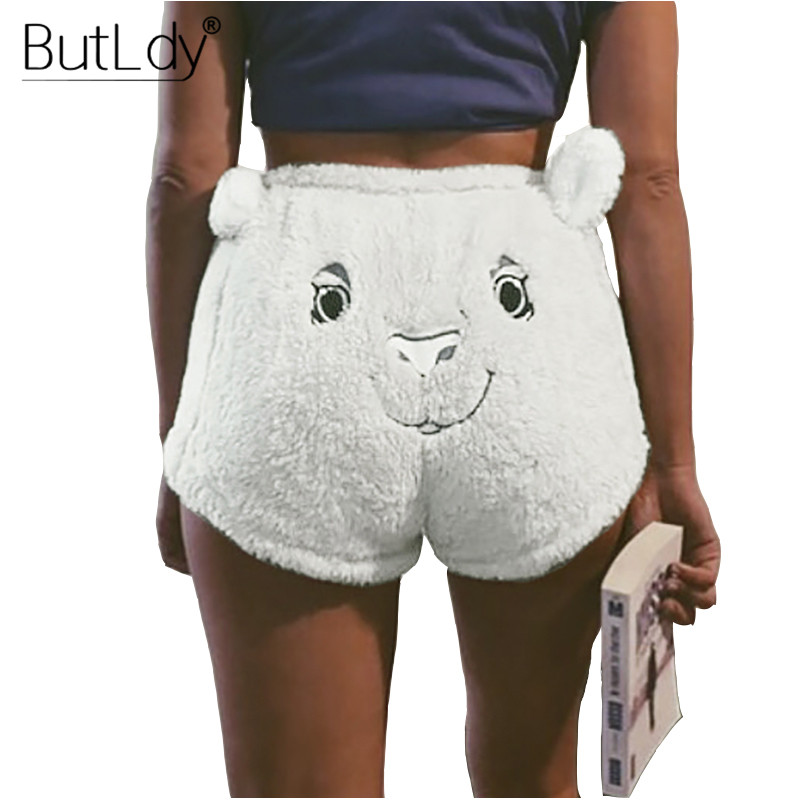 2019 Spring Cartoon Embroidery   Shorts   Women Fleece Fur Mini   Shorts   Casual Drawstring   Short   Pants Trousers Warm White Sexy   Shorts