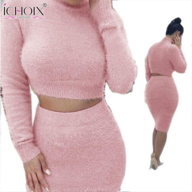 ICHOIX женщины зима dress 2 шт. установить sexy dress Long рукава Растениеводство Топ Бальные Платья Bodycon Бинты одежда Выдалбливают Vestidos