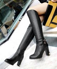 With The New Round Side Pull Winter Coarse Black Boots High Heeled Boots Shoes Size Thick Boots High Boots