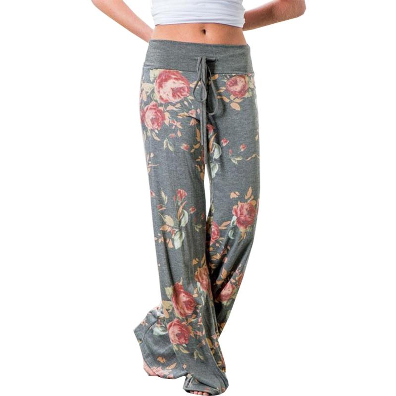 New 2018 women pants strappy casual pant fashion flower print elastic waist loose pants dropshipping vestidos OYM0447