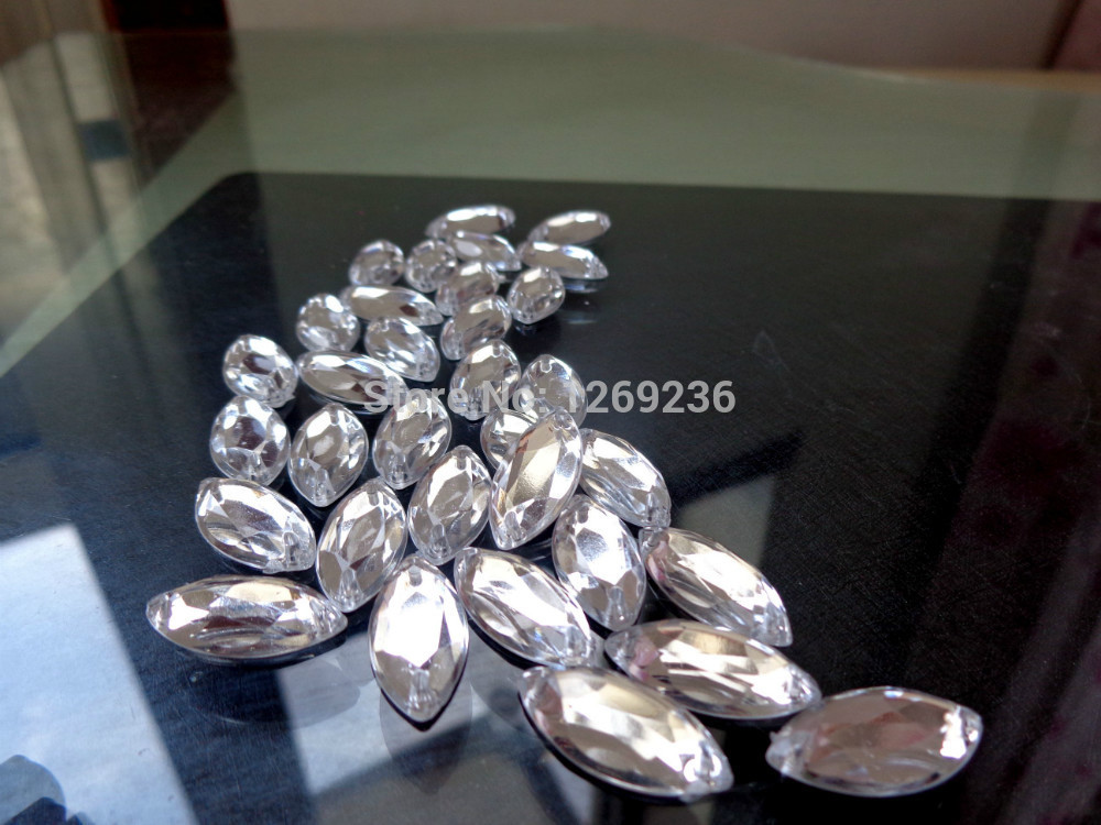 150pcs 9*18mm Acrylic crystal Silver-Color Rhinestones For Sewing Dresses Stones Accessores Sew on Loose Beads Strass m41