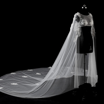 Wedding lace bolero latest O-Neck crystal luxury 3 m bridal capes real photo wedding evening capes cheap cape mariage long