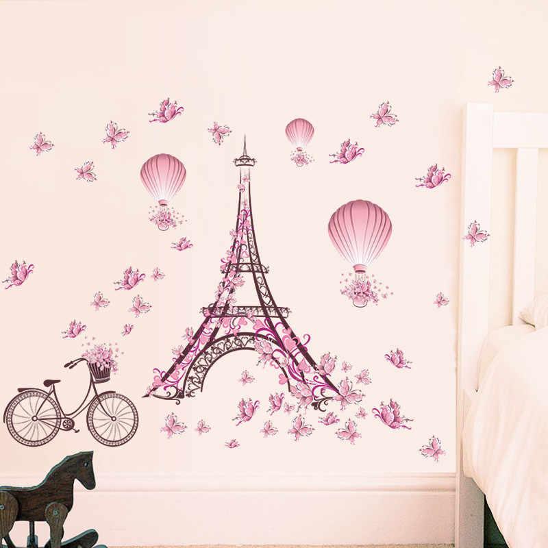 Romantische Paris Liebe Paar Eiffelturm PVC Wand Aufkleber Für Kinder Zimmer Startseite Decals Für Wohnzimmer Schlafzimmer Dekoration Poster