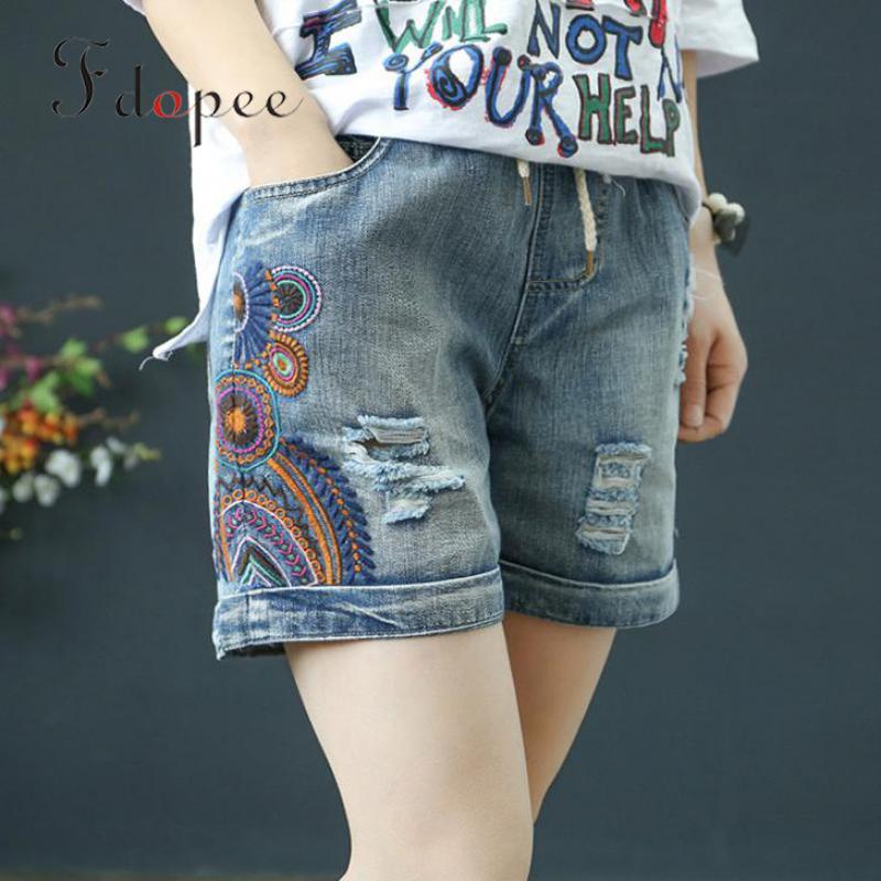 2019 Denim Shorts Fashion Casual Folk-custom Embroidery Hole Thin Loose Elastic Waist Elastic Waist Comfort Jeans Woman Shorts
