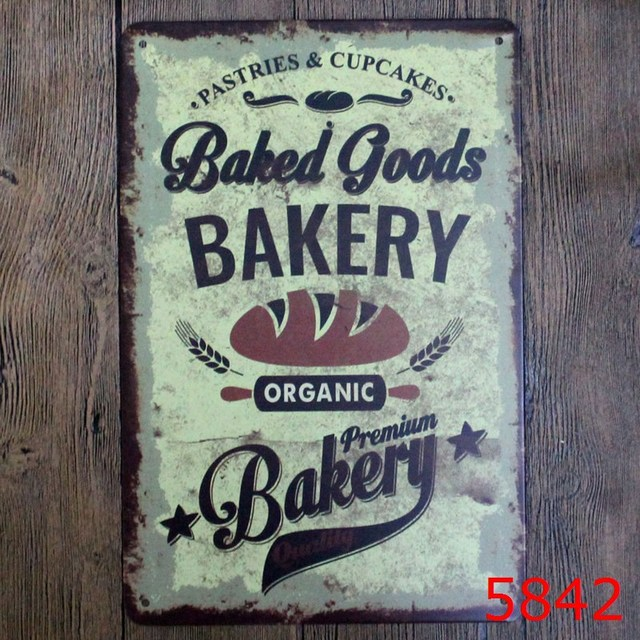 BAKERY Vintage Tin Signs Retro Metal Sign Antique Imitation Iron Plate Painting Decor The Wall Of