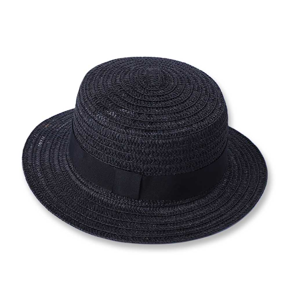 9c8f6e0fdc7 Deluxe straw skimmer hat for adults black grosgrain ribbon boater hat  lightweight braided summer holiday beach