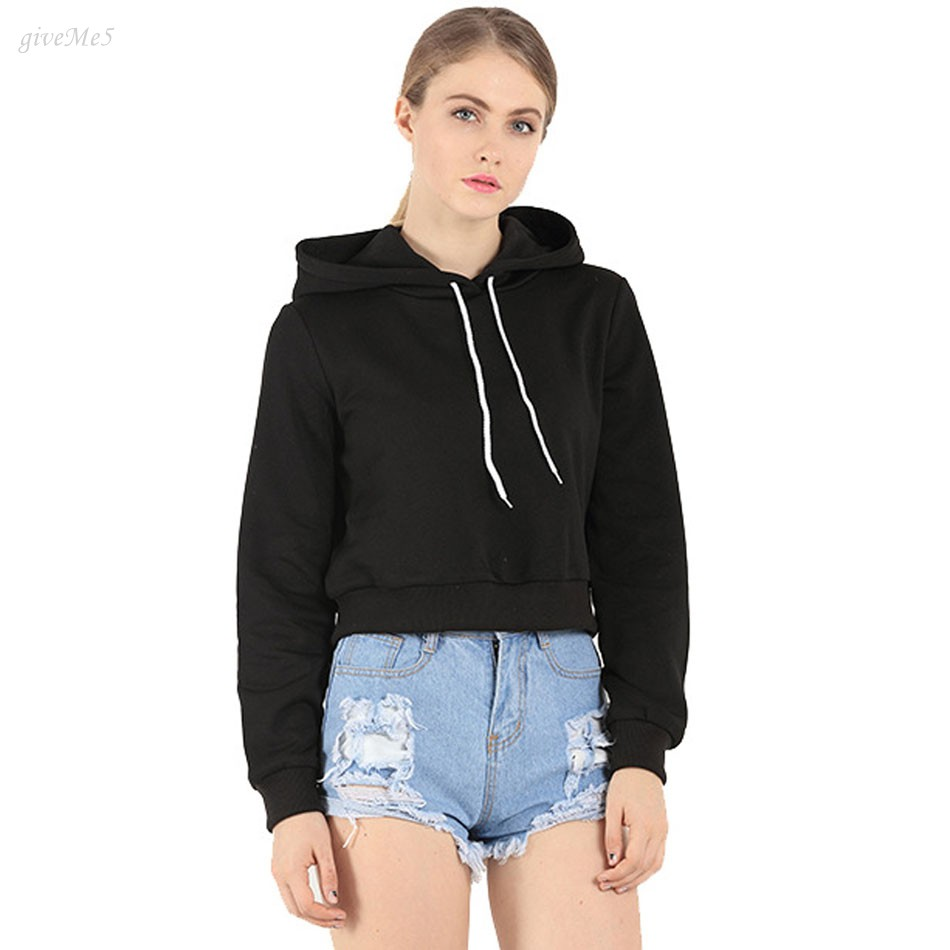 Fashion Women Long Sleeve Casual Crop Top Hooded Women Clothing Short Hoodies-in Hoodies ...