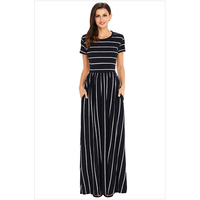 Fit Flare Striped Ankle Length Maxi Dresses New Arrival Long Summer Short Sleeve Navy Blue Pink Sundress With Pockets Robe