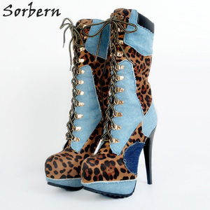 Image 1 - أحذية نسائية للشتاء بمقاسات كبيرة لون أزرق وأحمر عالية الكعب من قماش الدنيم بأربطة أحذية مثيرة للحفلات Zapatos موهير موهير تخفيضات كبيرة