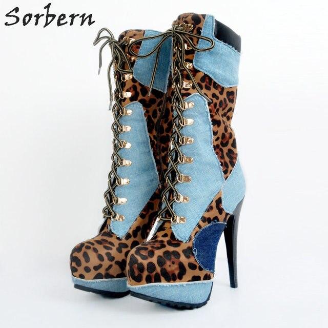 أحذية نسائية للشتاء بمقاسات كبيرة لون أزرق وأحمر عالية الكعب من قماش الدنيم بأربطة أحذية مثيرة للحفلات Zapatos موهير موهير تخفيضات كبيرة