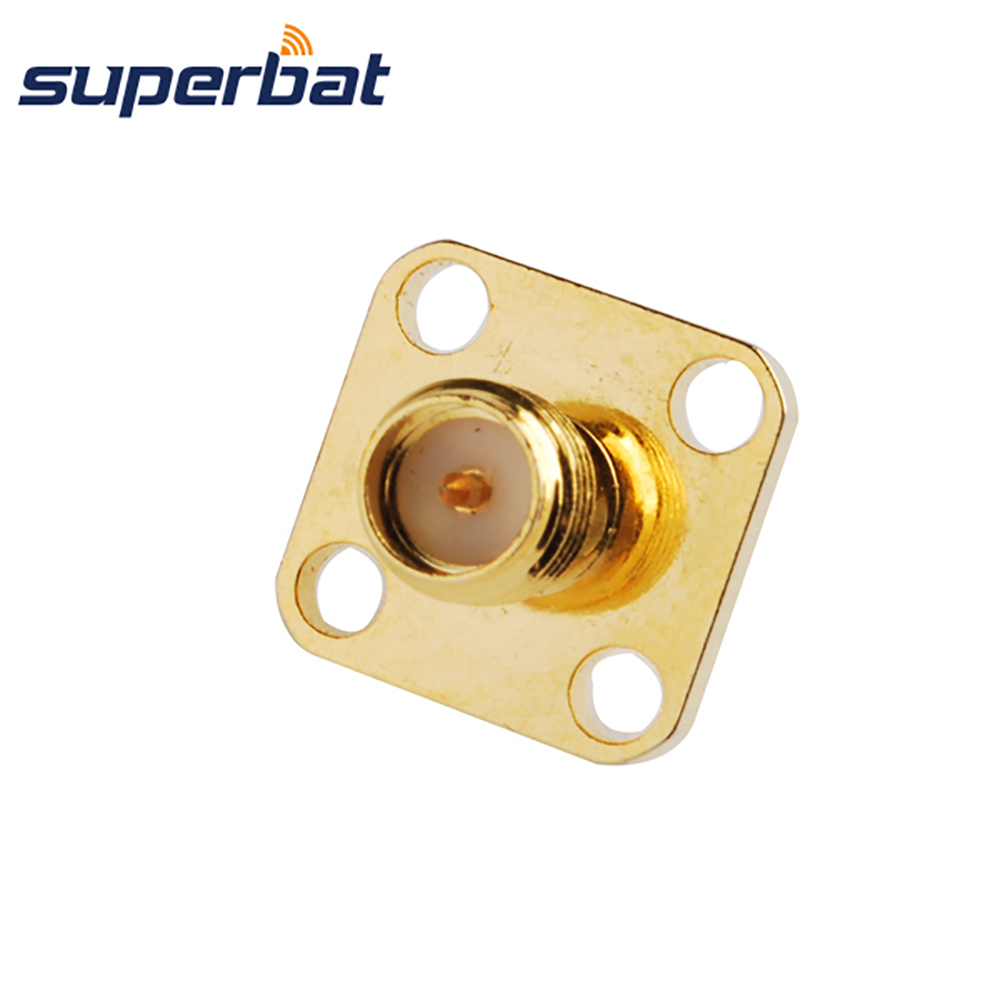 Superbat RP-SMA Jack (male pin) Panel Mount 4 hole Solder Connector with 4mm Dielectric&solder