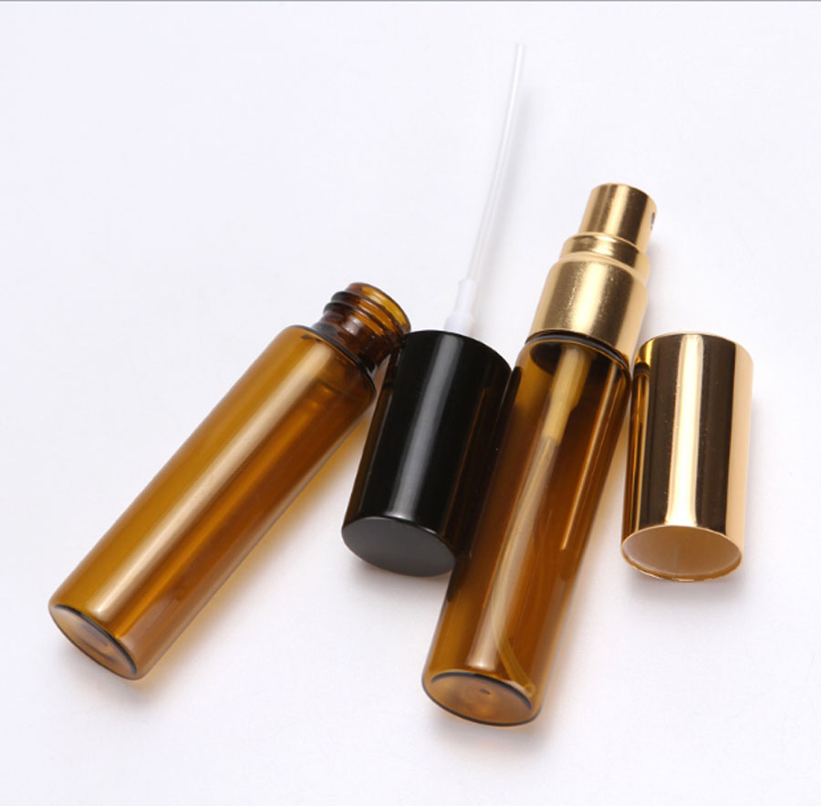 Купить с кэшбэком 12 x 5ml 10ml Portable Amber Refillable Atomizer Glass spray  bottle 1/3oz 1/6oz  Fragrance Perfume Scent Fine Mist Containers