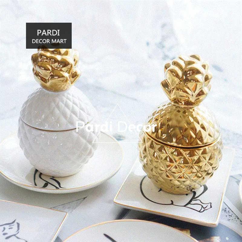 สีขาว/สีทองน่ารักสับปะรดจัดเก็บกล่องเครื่องประดับ jar/DIY aromatherapy เทียนคอนเทนเนอร์คอนเทนเนอร์
