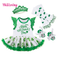 St. Patrick Dress for Baby Girls Cotton Dresses Sets with Green Legging Warmers+Green Toddler Shoes for St. Patrick Gift
