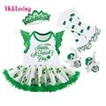 St. patrick dress para las niñas vestidos de algodón establece con verde legging calentadores + zapatos de niño verde para st. patrick regalo