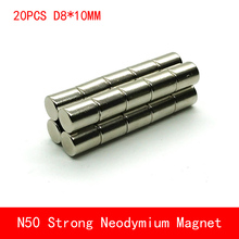 wholesale 20PCS D8*10mm round N50 Strong magnetic force rare earth Neodymium magnet diameter 8X10MM