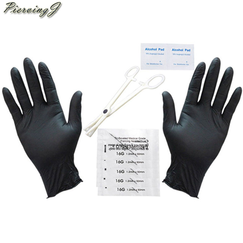 PiercingJ 10 PRO 14G/16G Body Piercing Kit Needle Belly Forcep Body Jewelry Scissors Gloves Piercing Jewelry Tool Accessories