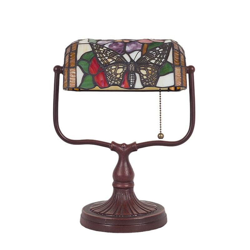 Style européen Vintage lampe de Table de luxe salon chambre chevet décor à la maison couleur verre lampe de Table Pull ligne interrupteur