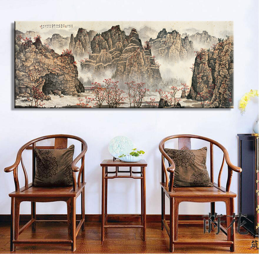 Large Wall Art Canvas Prints Chinese Mountain and River painting Picture Hall Living Room Decor Canvas Art Wall Poster Print-70