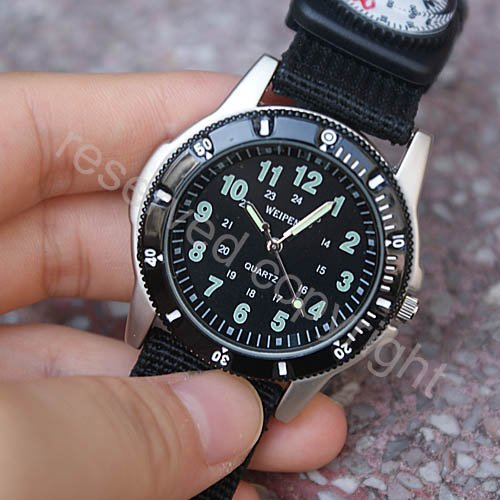 Military Army Black Dial Men Lady Quartz Wrist Watch Canvas Band New Nice Xmas Gift ship with tracking number A431