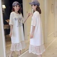 Pregnant women dress 2019 new loose fashion little girl avatar print stitching mesh dress pregnancy skirt