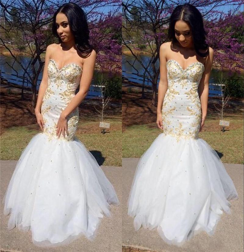 Popular White and Gold African Mermaid Prom Dress-Buy Cheap White ...