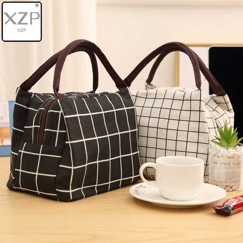 XZP Leisure Women Portable Lunch Bag Oxford Stripe Insulated Cooler Bags Thermal Food Picnic Lunch Bags Box Kids Ice Pack Tote