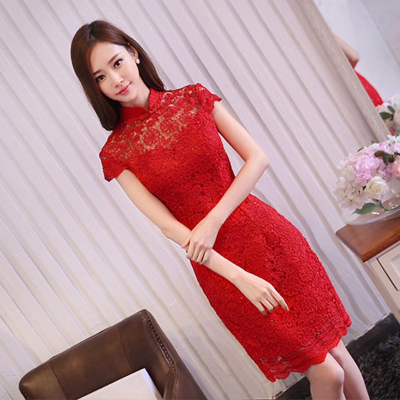 Red Lace Chinese Traditional Wedding Dress Qipao Modern