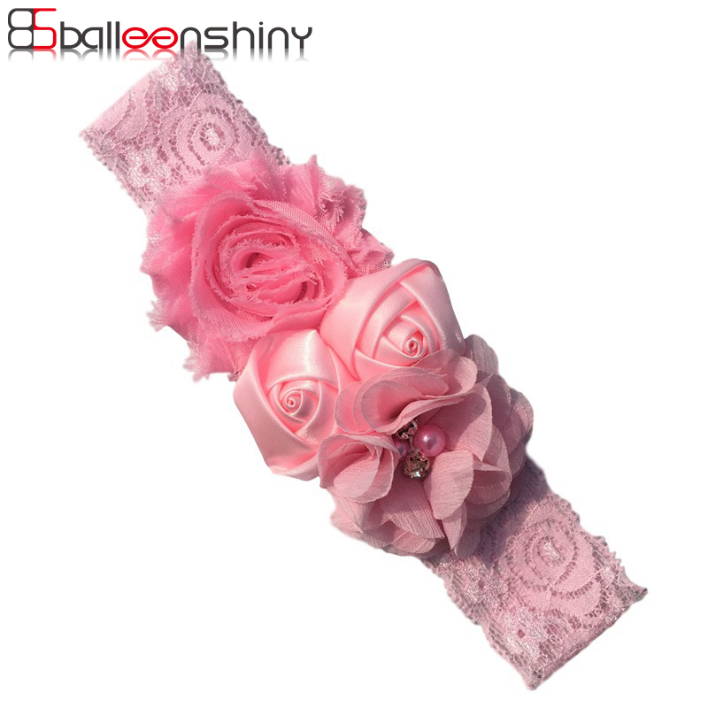 BalleenShiny Rose Flower Headband Baby Girls Fashion Hair Bands Children Gift   Headwear   Hair Accessories Lace Elastic Ornaments