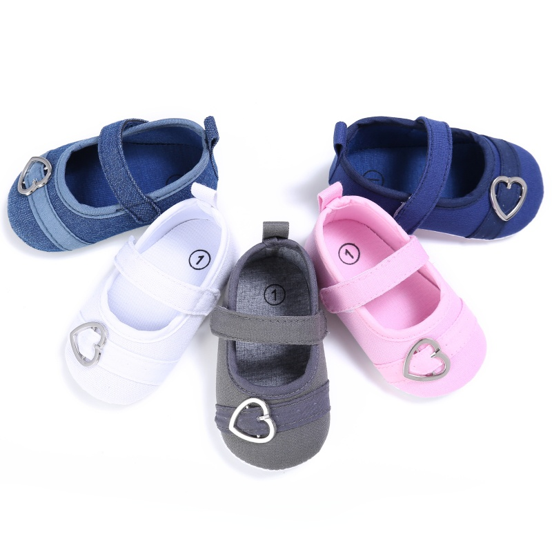 Spring Baby Girls First Walkers Sweet Solid Color Heart Pattern Princess Anti-slip Newborn Cack Shoes