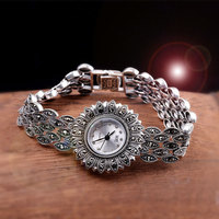 Hot Sale Top Quality Women Brand Silver Sun Flower Watch Elegant Real Pure Silver Bracelet Jewelry Watches Real Silver Bangle