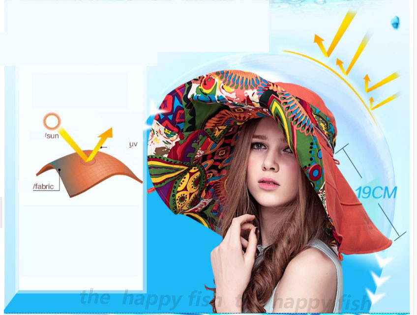 Bohemian Style! Hats Sun Hats For Women  Summer Hat For Women Large Sun Hat Beach Hat chapeu femme feminino Flower printed (4)