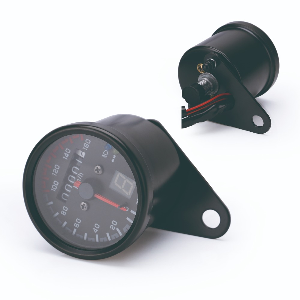 Free Shipping Universal Motorcycle Cafe Racer Speedometer odometer Gauge 0-160 km/u Instrument with LED Indicator
