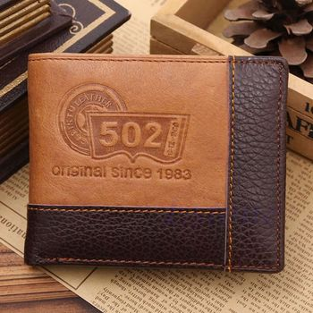 ISKYBOB Men Coffee Full-Grain Leather Bifold Wallet Credit Card Holder Slim Coin Purse Men Wallets