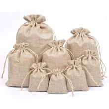 цены 50pcs Personalized bag custom bag print logo Shopping Bag Linen Storage Package Bags Drawstring Bag Travel Cloth Bag Gift Pouch