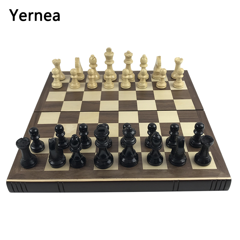 Yernea Books Shape Chess Pieces Wood Folding Board Solid Chessman Box Wooden Table Chess Set Natural Safe Paint Board Game Gift все цены