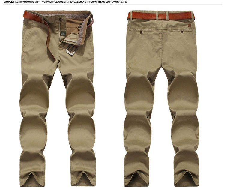 4 Colors 30-42 100% Cotton Fashion Joggers Men Casual Long Pants Men\'s Clothing Black Khaki Pants Trousers Autumn Summer Brand (1)