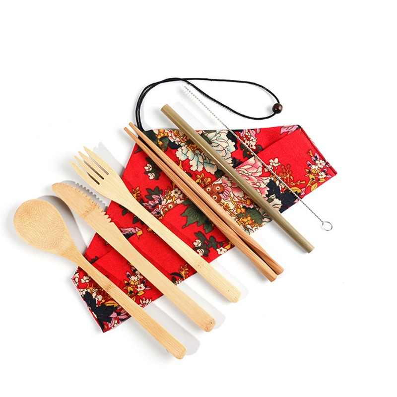 Natural Ecological Biodegradable Bamboo Tableware 6pc set Cloth Bag Kitchen Accessories knife+Chopsticks+Fork+Spoon+Straw+Brush