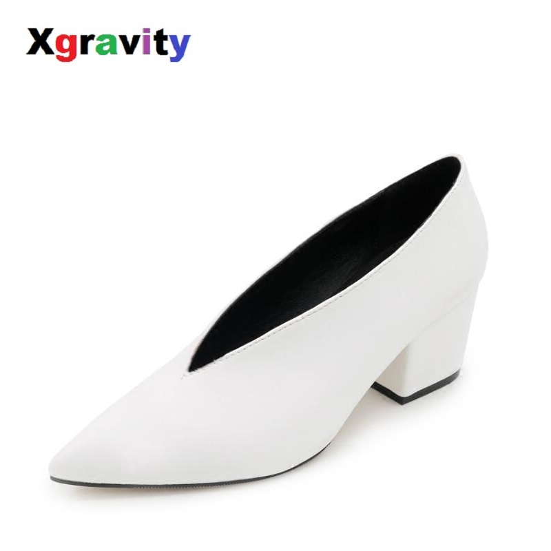 Xgravity Wedges Shoes Footwear Design Woman European Chunky-Party Pointed-Toe American