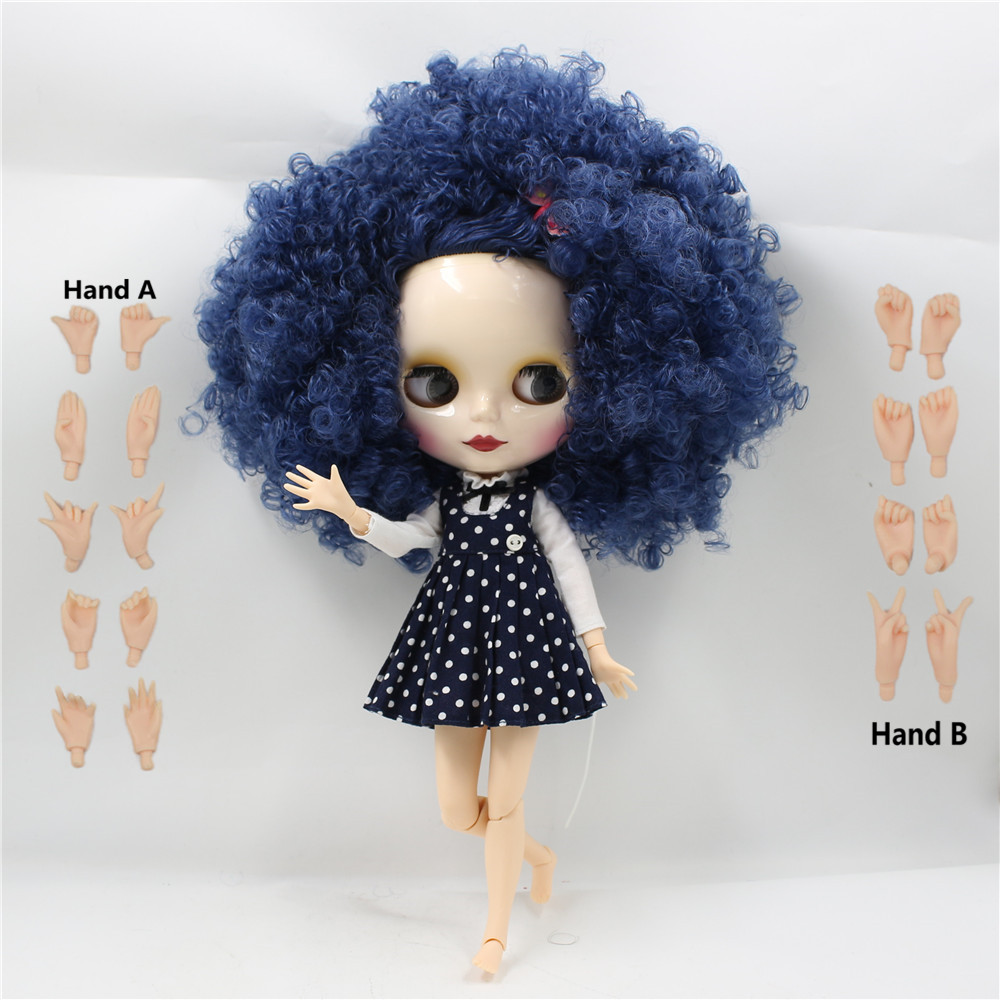 Toy Gift 280BLQE620 blue hair free shipping factory blyth doll bjd nude doll neo toy gift 1/6 doll 28cm curly hair