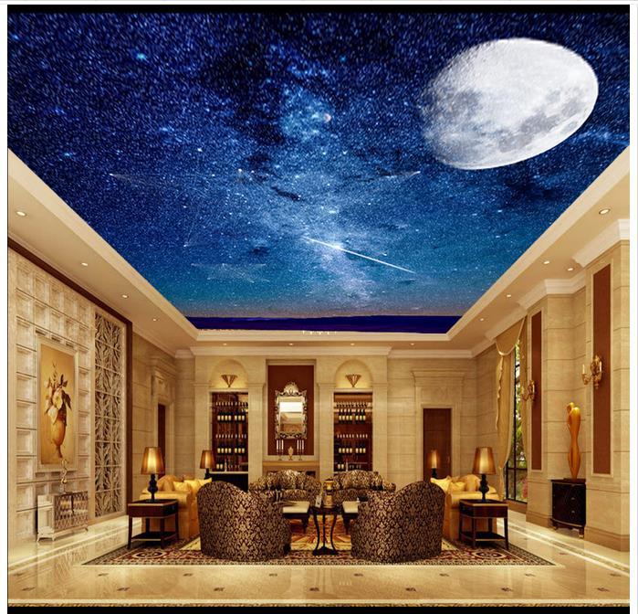 d papel pintado techo de encargo del papel pintado d murales del techo sueo estrella luna