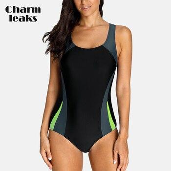 Charmleaks One-Piece Women Sports Swimwear Swimsuit Patchwork Beachwear Bathing Suit Padded Bikini Monikini