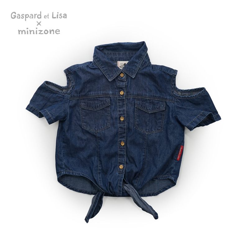 2016 New Korean Style Gaspard et Lisa Spring Summer Short Shawl Girl Blouse Kids Denim Bow Jeans Waistcoat Shirts 2-6 Years old free shipping new spring and summer fashion men s denim jeans slim wear white pantyhose feet