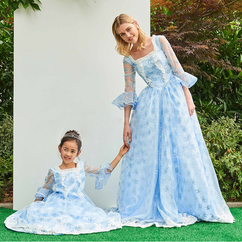 Mother Daughter Princess Dresses Wedding Clothes Mom and Daughter Elegant Dress Ball Gowns Baby Girls Princess Dress 2 12 Years children clothing mother and daughter dress xl xxxl lady women infant kids mom girls dress with dancing rabbit beautiful skirt