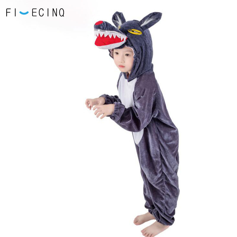 Child Kigurumi Romper Animal Wolf Cosplay Costume Deep Gray Cartoon Jumpsuit Boy Girl School Performance Party Onesie Kids Fancy