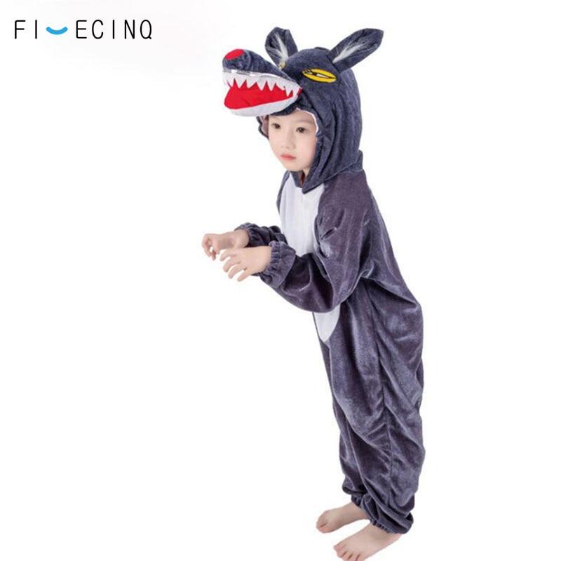 Child Kigurumis Romper Animal Wolf Cosplay Costume Deep Gray Cartoon Jumpsuit Boy Girl School Performance Party Onesie Kid Fancy
