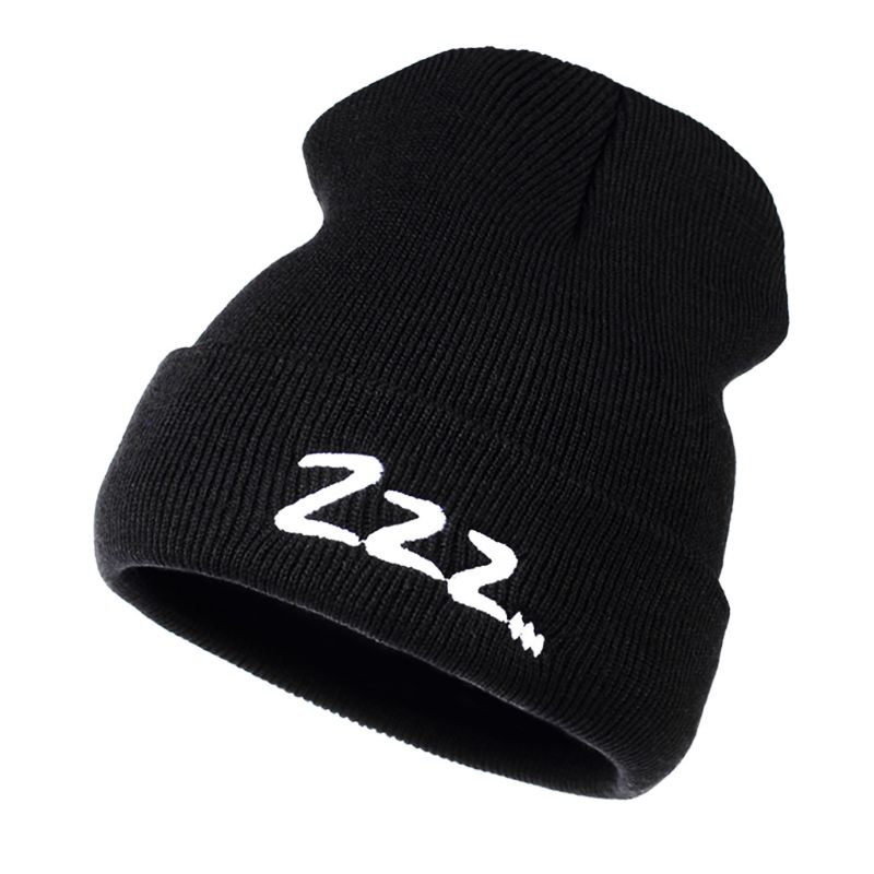 Women Unisex Ribbed Knitted Hat Cuffed Cute Sleeping Letters Embroidery Classic   Beanie   Cap Hip-Hop Skateboard Fans Supportive