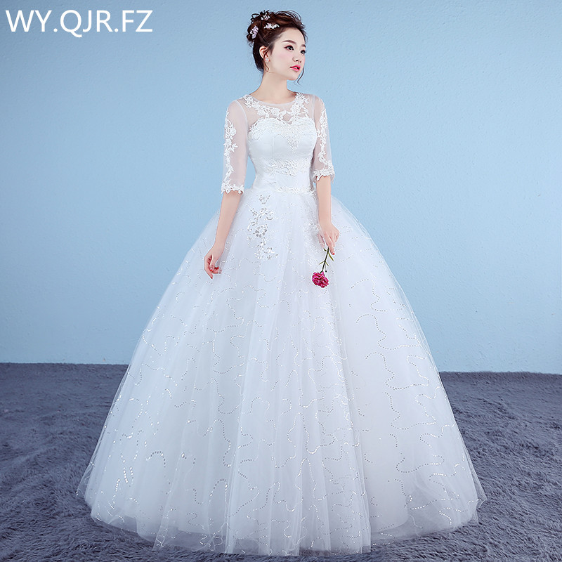 XXN058#Ball Gown Lace Up Long Bride's Wedding Dress 2019 New Organza With Embroidery Dresses Fashion Cheap Wholesale Custom