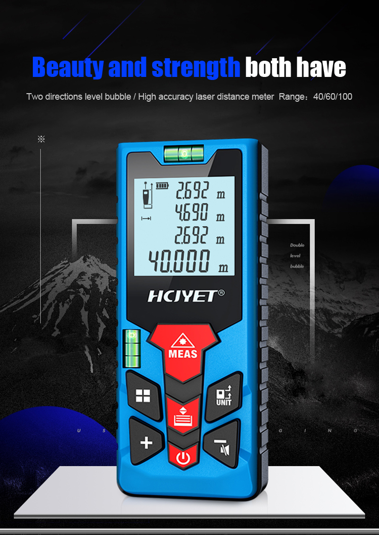 Mileseey 40-100M Laser Distance Meter for Area/Volume Measurement and 20 Sets of Data Range