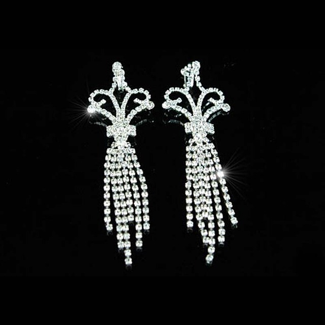 5 Queen Jumbo Rhinestone Dangle Clip On Earrings Pageant Jewelry Prom Accessories Ce1022